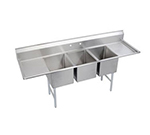 Elkay 14-3C20X20-2-20X Standard Sink w/ (3) 20x20x14-in Bowl & 9-in Splash, 20-in L-R Drainboard