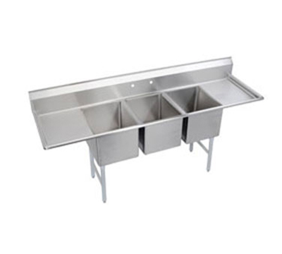 Elkay 14-3C18X24-2-24X Standard Sink w/ (3) 18x24x14-in Bowl & 9-in Splash, 24-in L-R Drainboard
