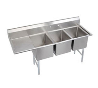 "Elkay 14-3C24X24-L-24X 102.5"" 3-Compartment Sink w/ 24""L x 24""W Bowl, 14"" Deep"
