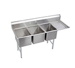 Elkay 14-3C16X20-R-18X Standard Sink w/ (3) 16x20x14-in Bowl & 9-in Splash, 18-in Right Drainboard