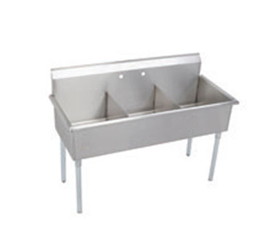 "Elkay B3C12X21X 39"" 3-Compartment Sink w/ 12""L x 21""W Bowl, 12"" Deep"