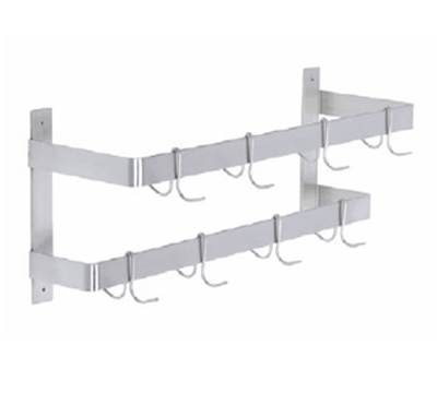 "Elkay DLW-60X 60"" Wall-Mount Pot Rack w/ (10) Double Hooks, Stainless Steel"