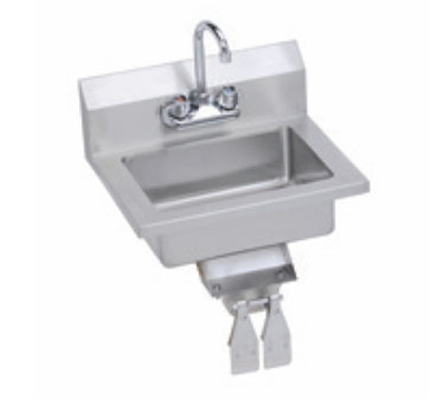 Elkay EHS-18-KVX Wall Economy Hand Sink w/ 14x10x5-in Bowl & Faucet, Knee Valve