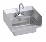 Elkay EHS-18-SDX Wall Economy Hand Sink w/ 14x10x5-in Bowl & Faucet, L-R Splash, Overflow