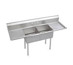 """Elkay S2C18X18-2-18X 72"""" 2-Compartment Sink w/ 18""""L x 18""""W Bowl, 14"""" Deep"""