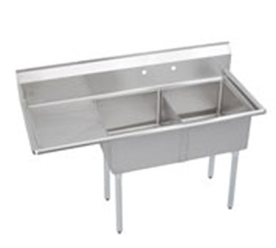 Elkay S2C18X18-L-18X Sink w/ (2) 18x18x14-in Bowl & 9-in Splash, 18-in Left Drainboard