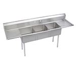 Elkay S3C18X18-2-18X Sink w/ (3) 18x18x14-in Bowl & 9-in Splash, 18-in L-R Drainboard