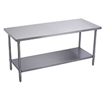 "Elkay EWT30S72-STG-4X Work Table w/ Galvanized Undershelf, 72x30"", 18/300-Stainless Flat Top"