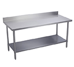 "Elkay EWT30S72-STG-24X 72"" 18-ga Work Table w/ Undershelf & 300-Series Stainless Top, 2"" Backsplash"