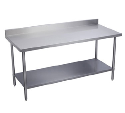 "Elkay EWT24S60-STG-2X 60"" 18-ga Work Table w/ Undershelf & 430-Series Stainless Top, 2"" Backsplash"