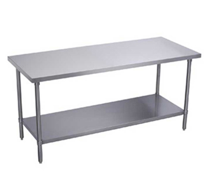 "Elkay EWT24S24-STGX Work Table w/ Galvanized Undershelf, 24x24"", 18/430-Stainless Flat Top"