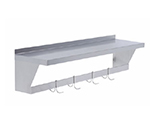 "Elkay SLW-S-48X 48"" Wall-Mounted Shelf w/ Pot Rack - (4) Double Hooks, Stainless Steel"