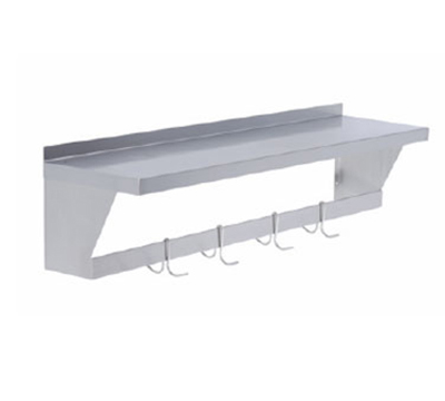 "Elkay SLW-S-72X 72"" Wall Mount Shelf w/ Pot Rack & 1-Hook/ft, Stainless"