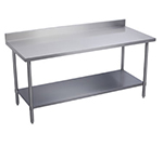 "Elkay WT24S120-BSX 120"" 16-ga Work Table w/ Undershelf & 300-Series Stainless Top, 4"" Backsplash"