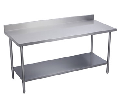 "Elkay WT24S120-BGX 120"" 16-ga Work Table w/ Undershelf & 300-Series Stainless Top, 4"" Backsplash"