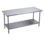 Elkay WT30S72-STGX Flat Top Work Table w/ Galvanized Undershelf, Stainless Top, 72x30-in