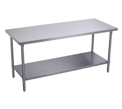 Elkay WT24S72-STGX Flat Top Work Table w/ Galvanized Undershelf, Stainless Top, 72x24-in