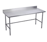 "Elkay WT24X96-BSX 96"" 16-ga Work Table w/ Open Base & 300-Series Stainless Top, 4"" Backsplash"