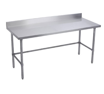 "Elkay WT30X96-BSX 96"" 16-ga Work Table w/ Open Base & 300-Series Stainless Top, 4"" Backsplash"