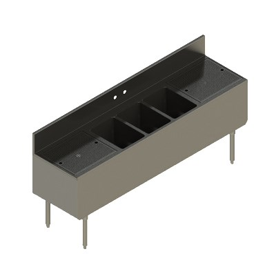 "Elkay UB-3C72X19-2-18X 72"" Underbar Sink w/ (3) Compartments - Left & Right Drainboard, Stainless Steel"
