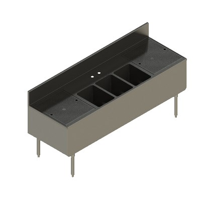 """Elkay UB-3C72X24-2-18X 72"""" Underbar Sink w/ (3) Compartments - Left & Right Drainboard, Stainless Steel"""