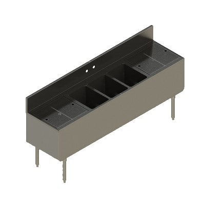 "Elkay UB-3C84X19-2-24X 84"" Underbar Sink w/ (3) Compartments - Left & Right Drainboard, Stainless Steel"
