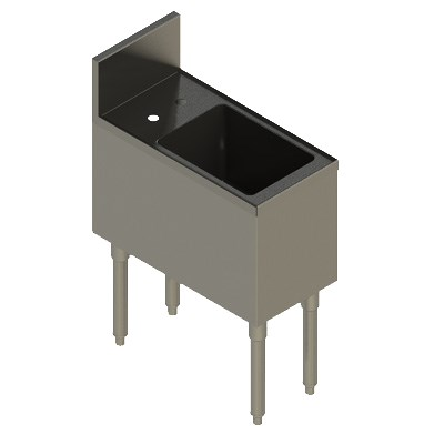 """Elkay UB-HS12X24X 1-Compartment Underbar Hand Sink - 12"""" x 24"""" x 10"""" Bowl, Stainless Steel"""
