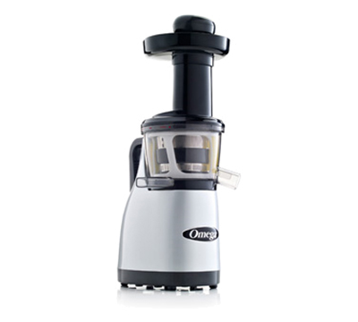 Omega VRT370HDS Vertical Masticating Juicer - Low-Speed, Spout with Tap, Stainless/Silver