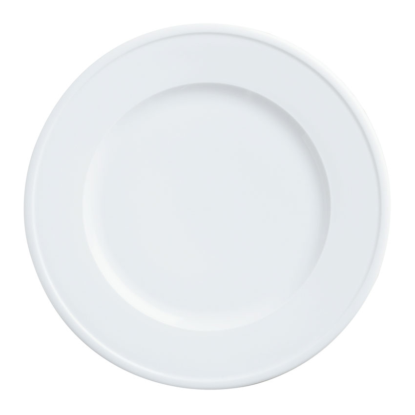 "World Tableware 150210270 10-3/4"" Empire Wide Rim Plate - Porcelain, Bright White"