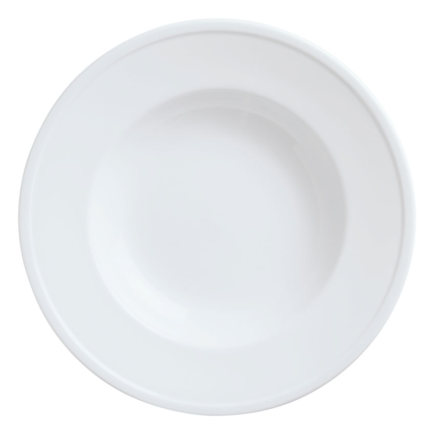 World Tableware 150210310 22-1/2-oz Empire Rimmed Pasta Bowl - Porcelain, Bright White