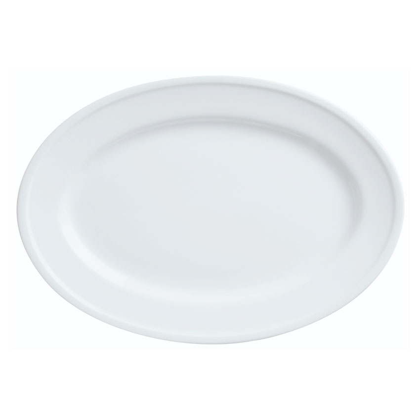 "World Tableware 150250310 Oval Empire Platter - 12-1/8x8-7/8"" Porcelain, Bright White"