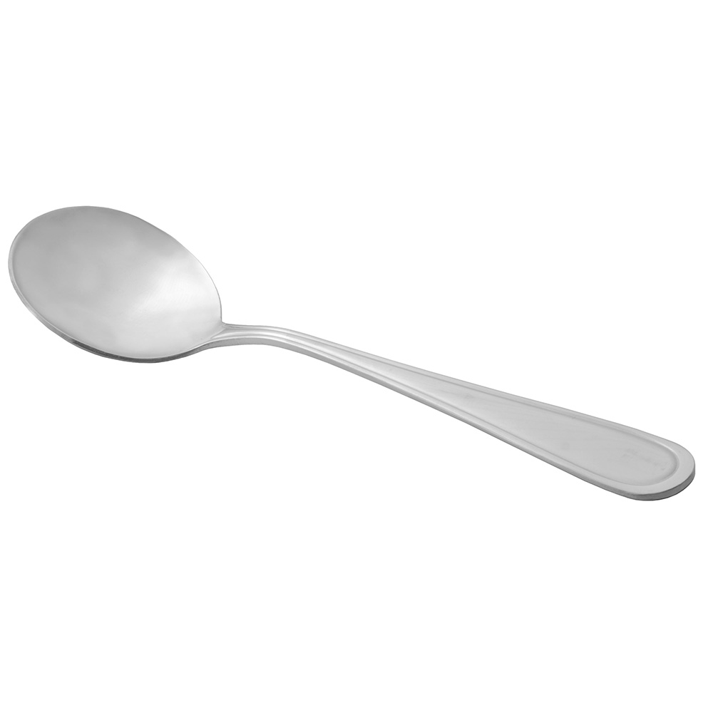 World Tableware 162004 Soup Spoon w/ Round Bowl & Bright Mirror Finish, 18/0-Stainless, Huron Brandware