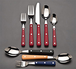 World Tableware 204027 Cookout Brandware Dinner Fork - Red/Stainless