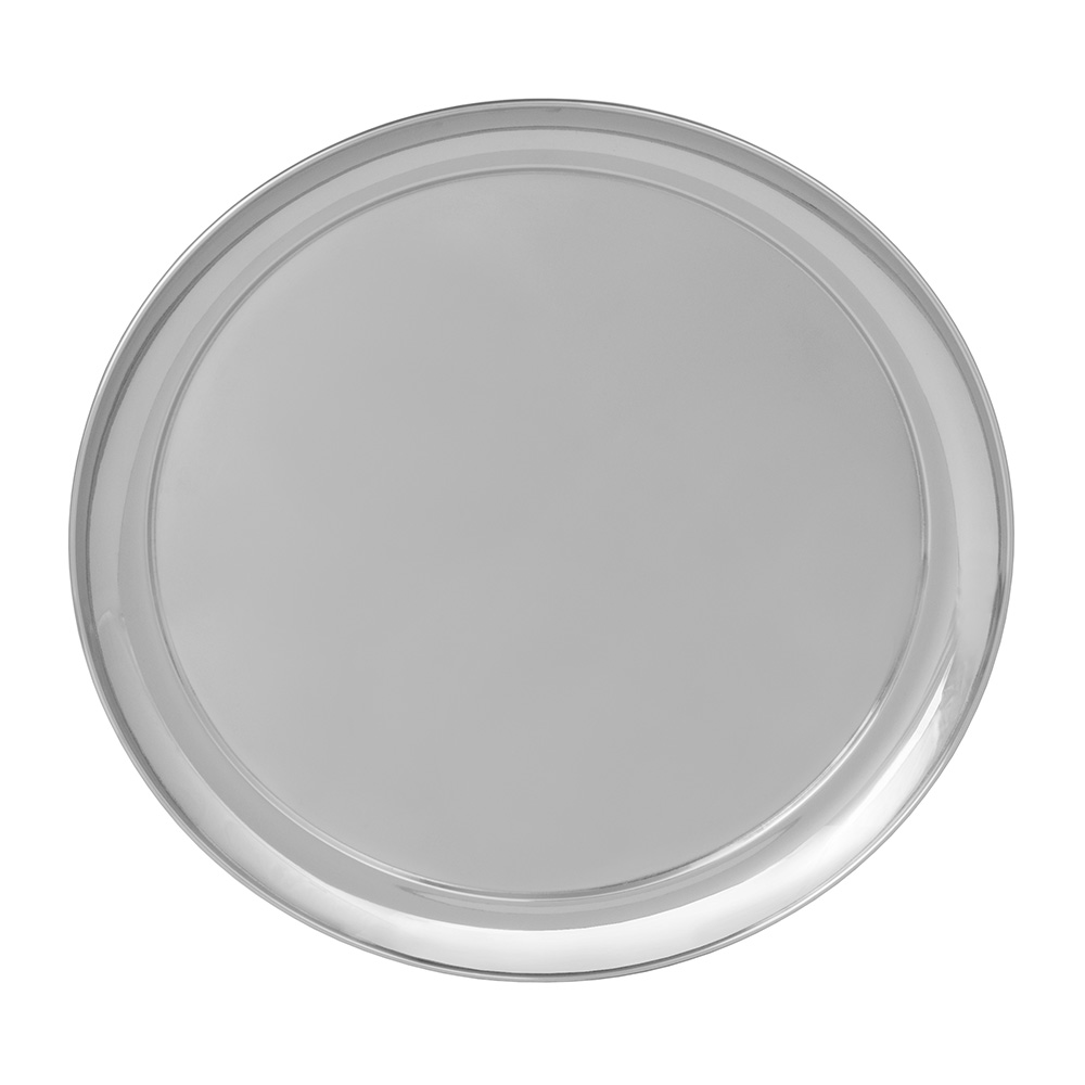 "World Tableware 764103 16"" Round Tray w/ Rolled Edge, 18/8-Stainless"