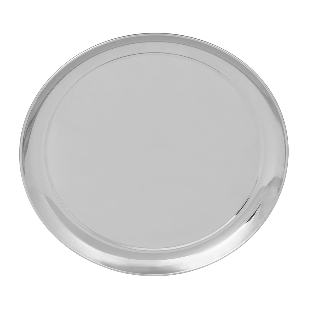 "World Tableware 764105 12"" Round Tray w/ Rolled Edge, 18/8-Stainless"