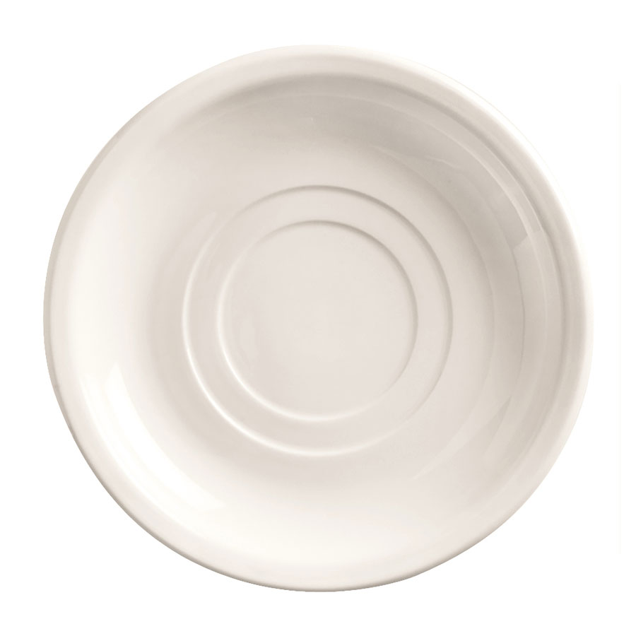 "World Tableware 840-215-005 5.5"" Saucer - Double Well, Narrow Rim, Porcelain, Bright White"