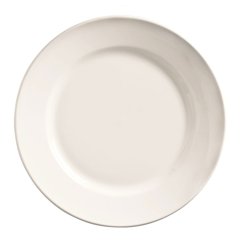 "World Tableware 840-425R-25 9"" Plate - Wide Rim, Rolled Edge, Porcelain, Bright White"