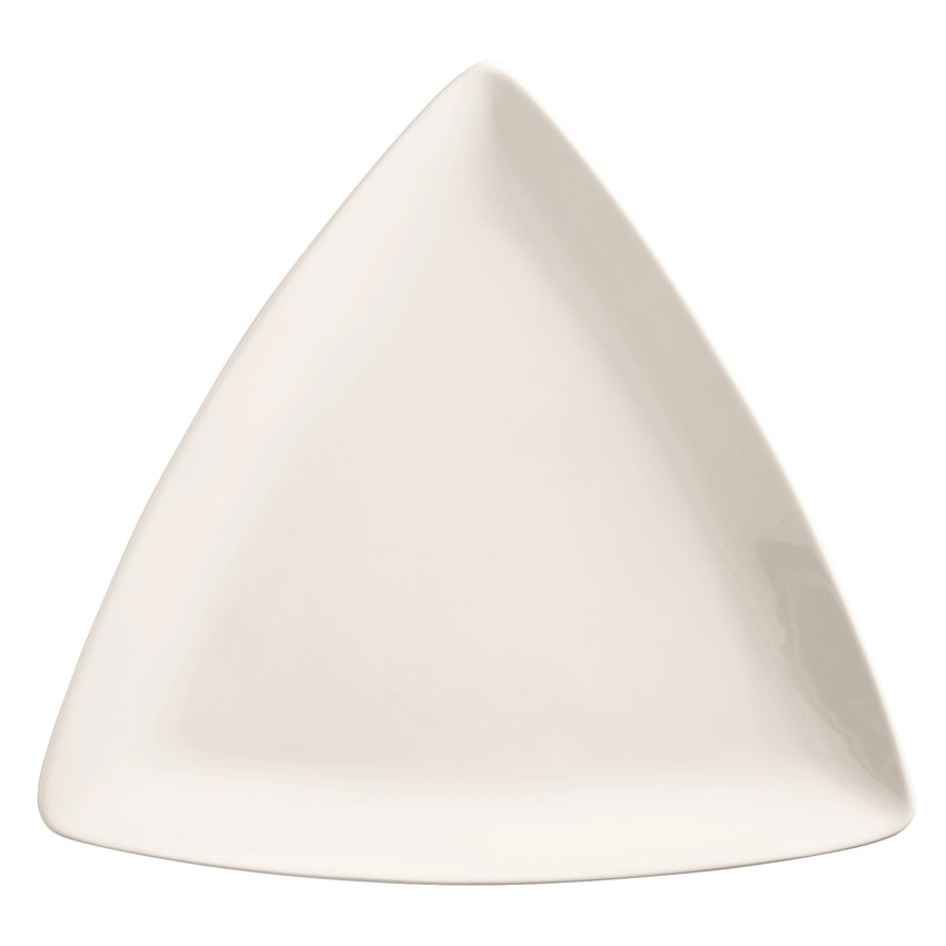 "World Tableware 840-435T 9"" Porcelana Triangle Plate - Porcelain, Bright White"