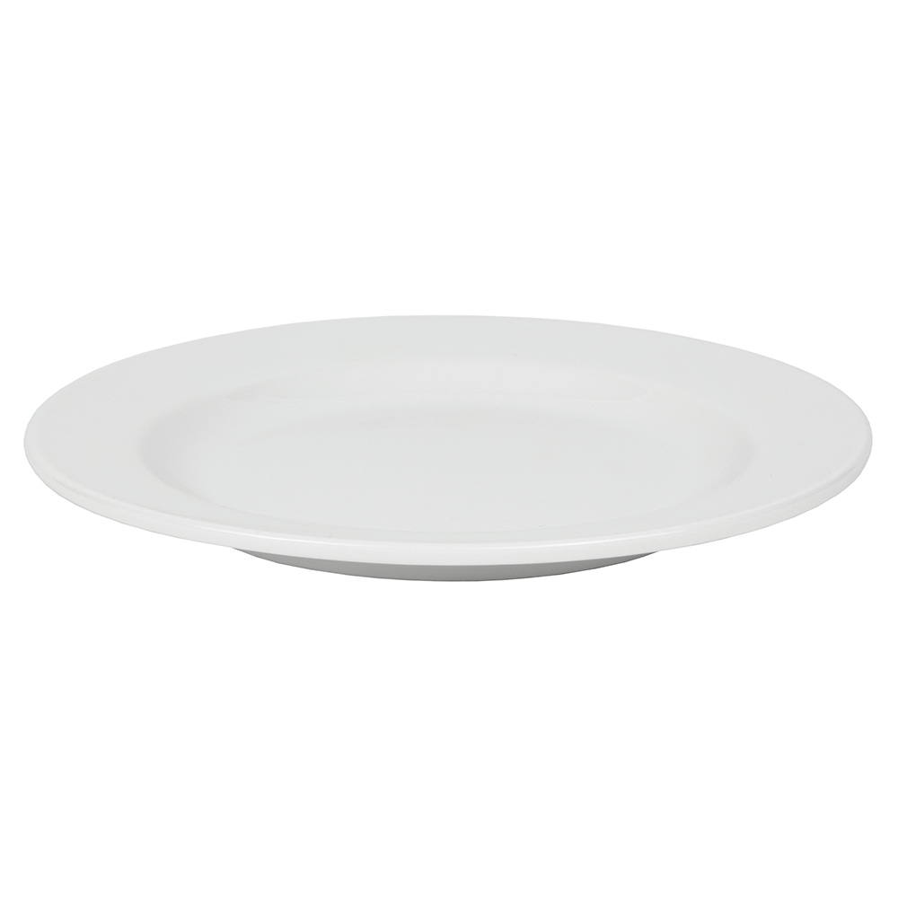 "World Tableware 840-438R-10 10.5"" Porcelain Plate w/ Wide Rim & Rolled Edge, Bright White, Porcelana"