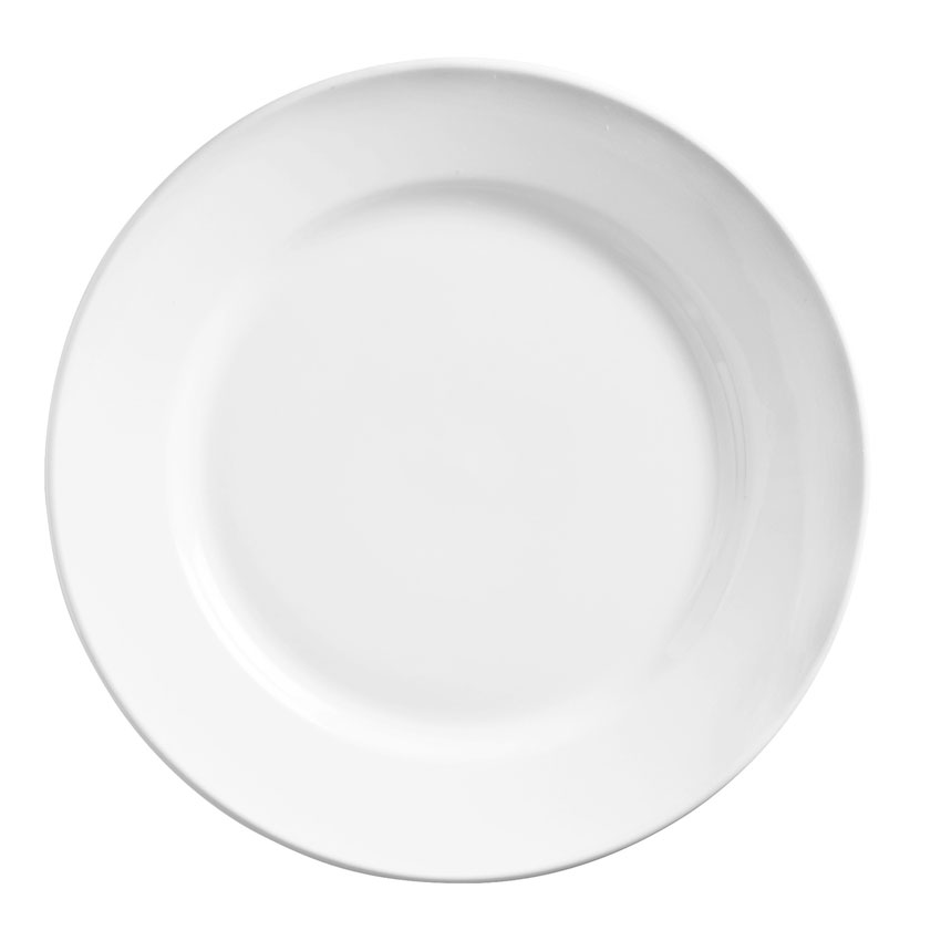 "World Tableware 840-440R-11 11"" Plate - Wide Rim, Rolled Edge, Porcelain, Bright White"