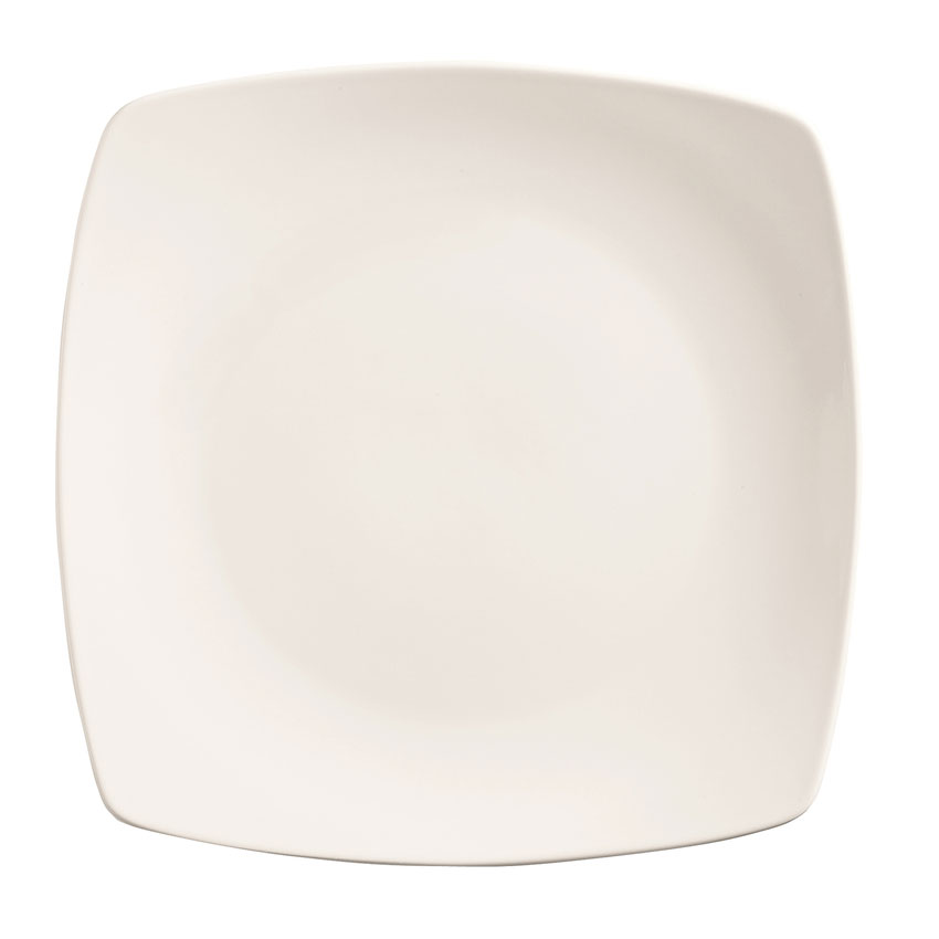 """World Tableware 840-468S 10.25"""" Square Porcelain Plate, Coupe, Bright White, Porcelana"""