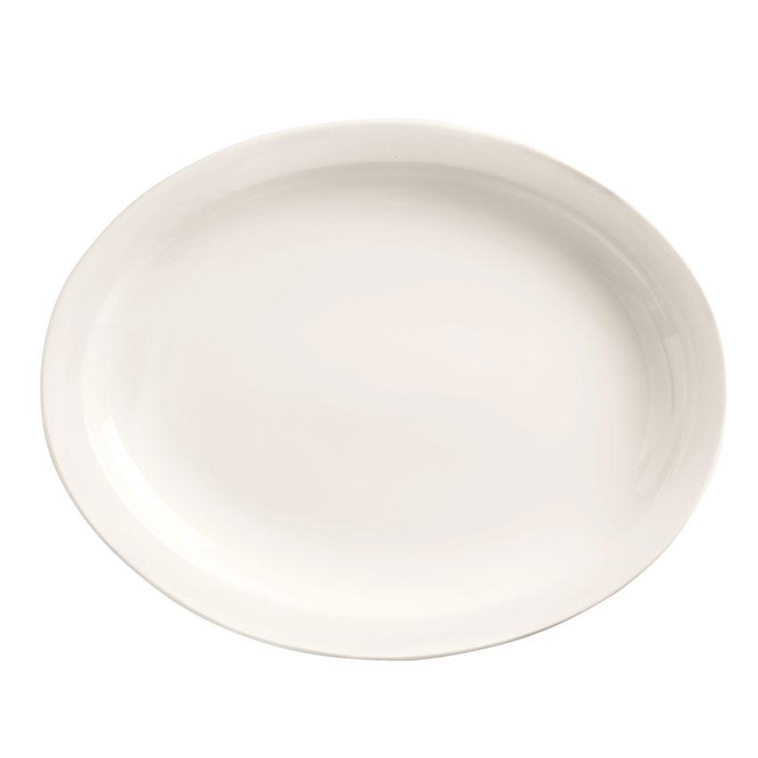 """World Tableware 840-520N-9 9.75"""" Oval Porcelain Platter w/ Narrow Rim, Bright White, Porcelana"""
