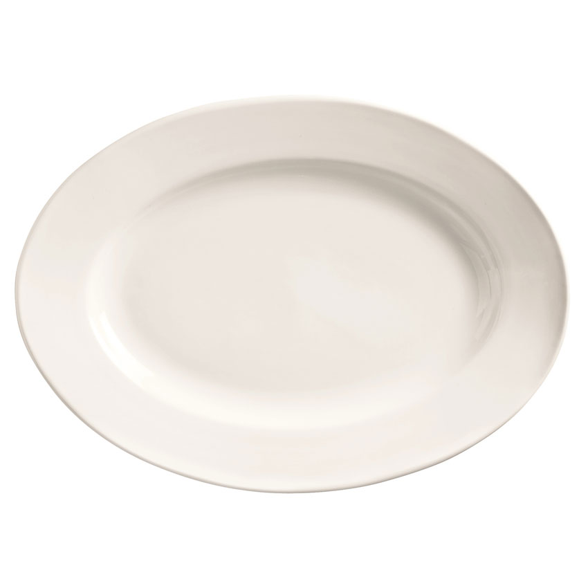 "World Tableware 840-520R-10 9.75"" Porcelain Platter w/ Wide Rim & Rolled Edge, Bright White, Porcelana"