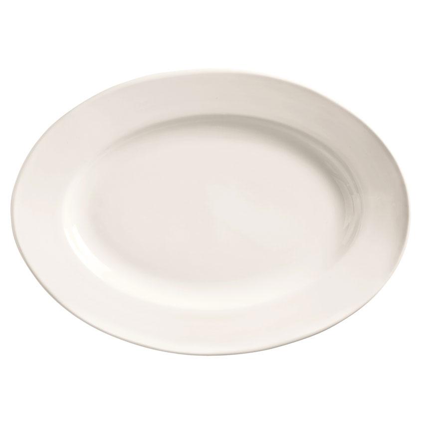 "World Tableware 840-520R-13 13.75"" Porcelain Platter w/ Wide Rim & Rolled Edge, Bright White, Porcelana"