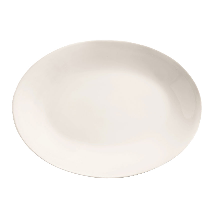 "World Tableware 840-520R-24 11.75"" Oval Porcelain Platter w/ Rolled Edge, Coupe, Bright White, Porcelana"