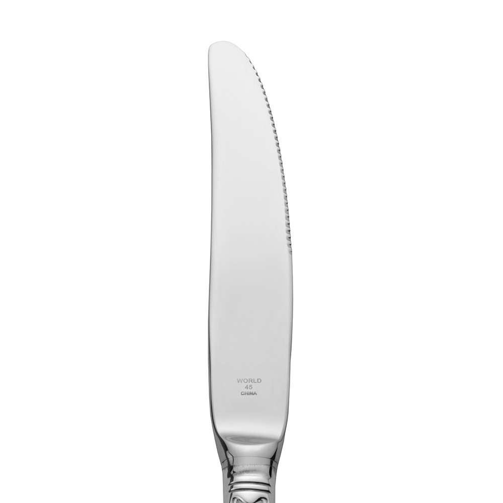 World Tableware 8442702 Kings Dinner Knife - Fluted Blade, Silverplated