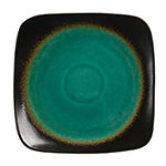 "World Tableware BF-10 10"" Hakone Square Plate - Ceramic, Turquoise/Dark Brown"