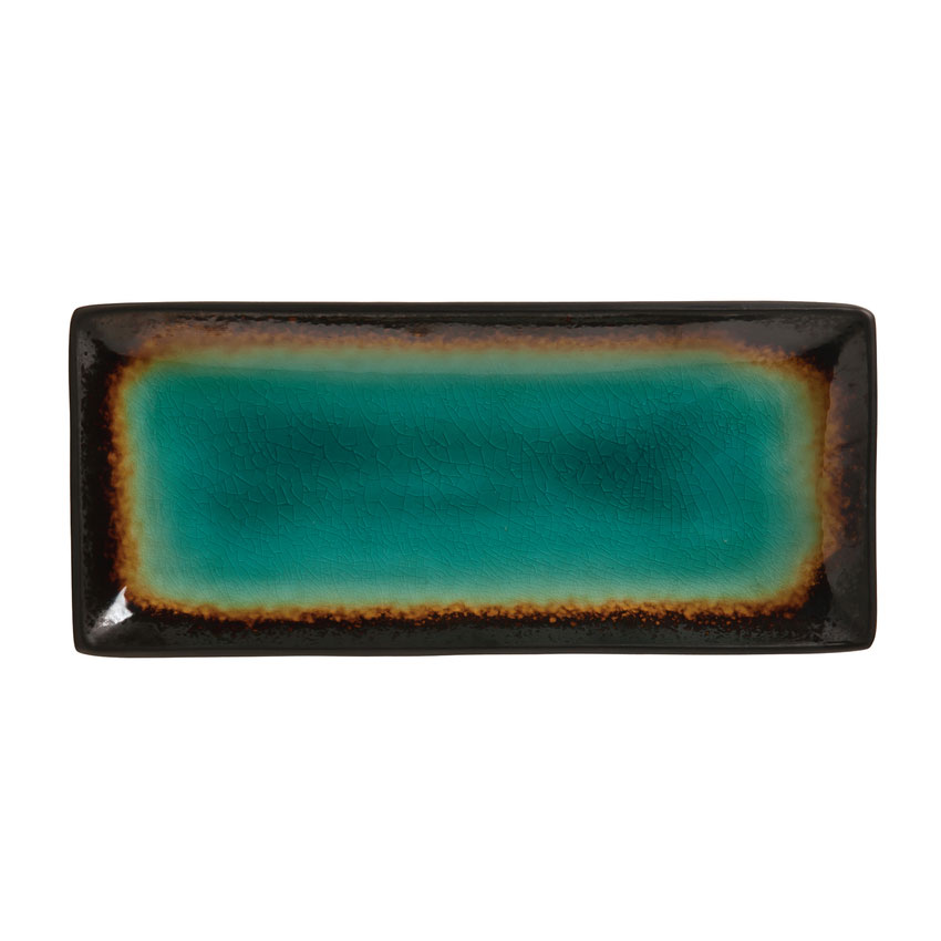"World Tableware BF-11 5"" Rectangular Platter, Turquoise Well w/ Dark Brown Rim"