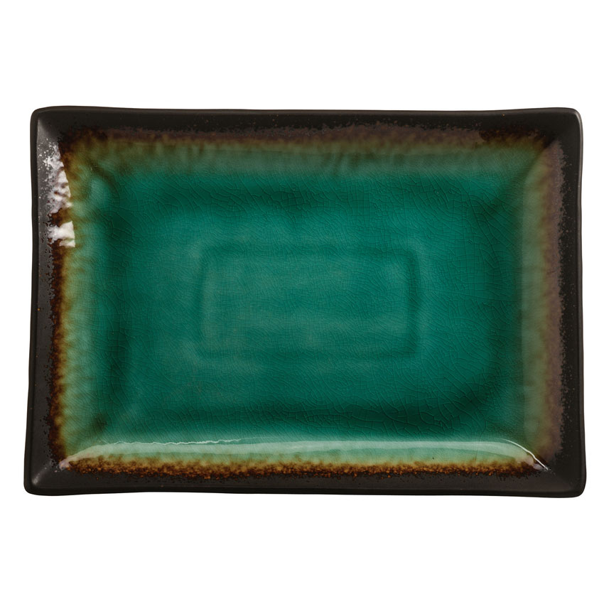 "World Tableware BF13 Rectangular Ceramic Platter, 13"" x 9.25"", Turquoise w/ Dark Brown Rim, Hakone"