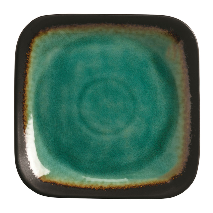 "World Tableware BF8 9"" Square Ceramic Plate, Turquoise w/ Dark Brown Rim, Hakone"